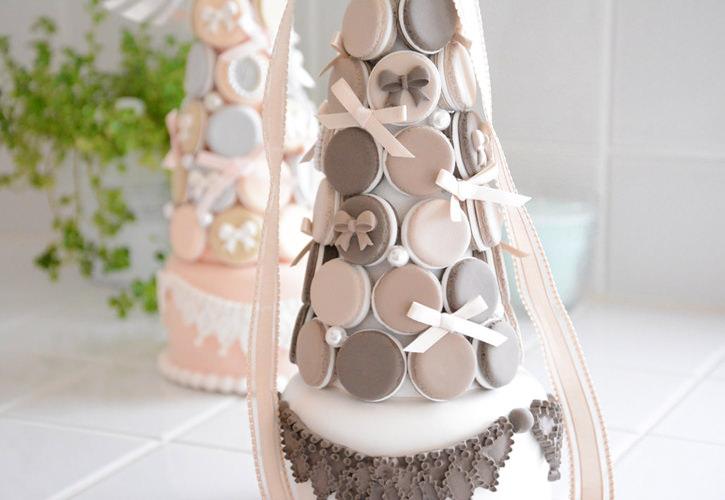 マカロンタワー(チョコレートカラーで)