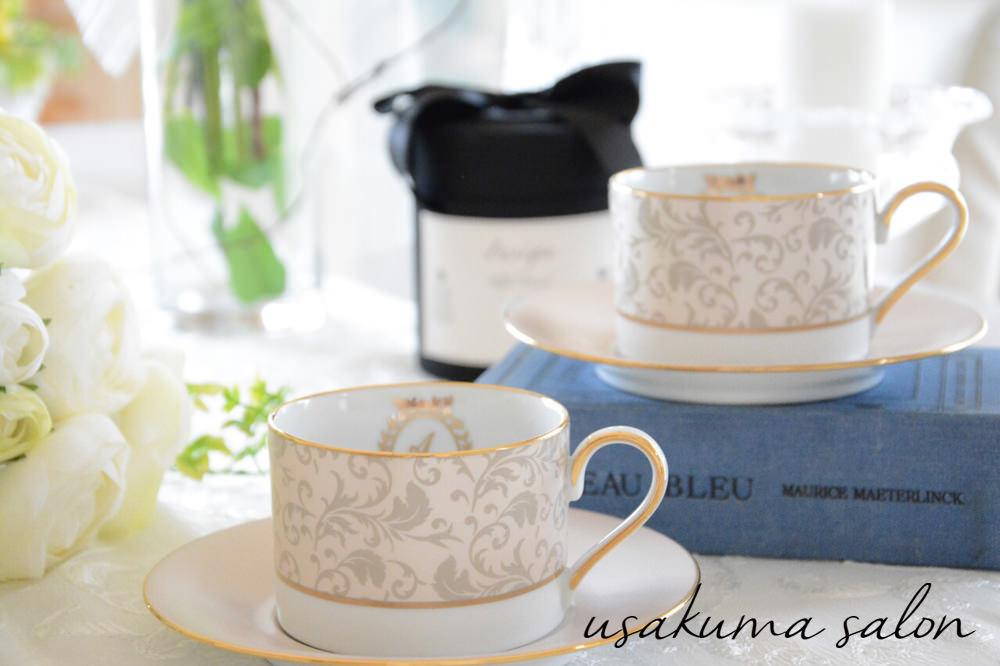 ポーセラーツ オーダー・アラベスク柄のカップ&ソーサーIMG_4568