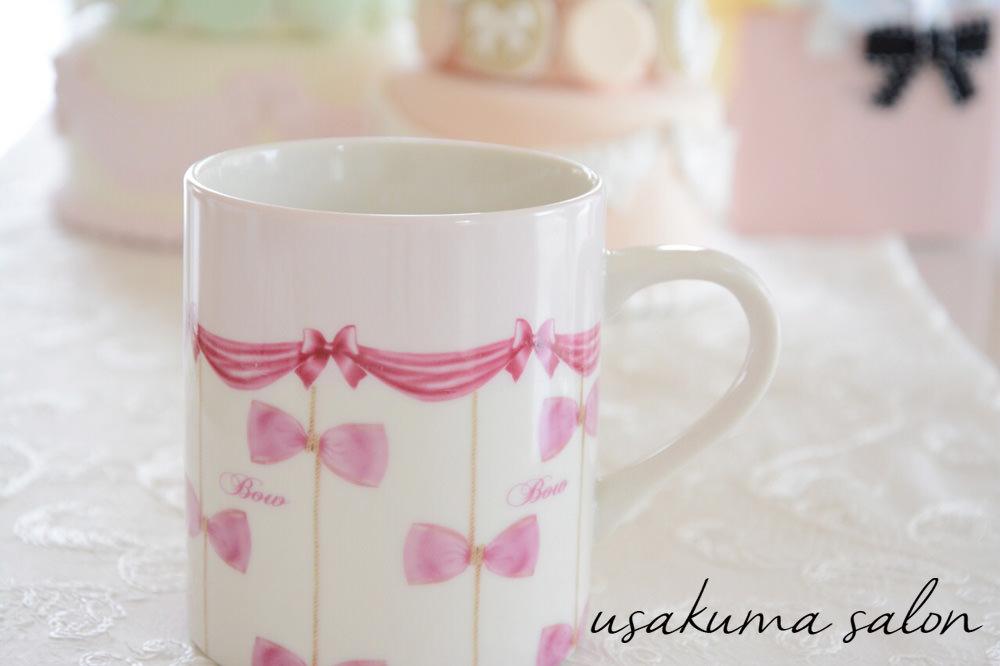 ポーセラーツ・リボンたくさんのマグカップとプレート♡IMG_5075