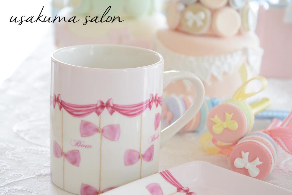ポーセラーツ・リボンたくさんのマグカップとプレート♡IMG_5086