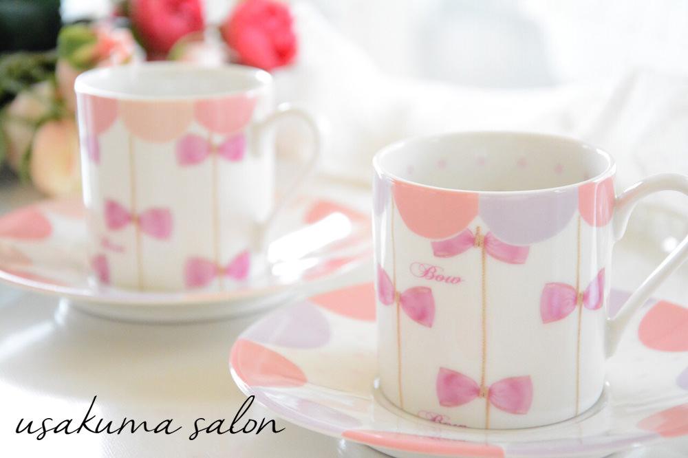 ポーセラーツ・リボンの可愛いらしいカップ&ソーサーIMG_5547